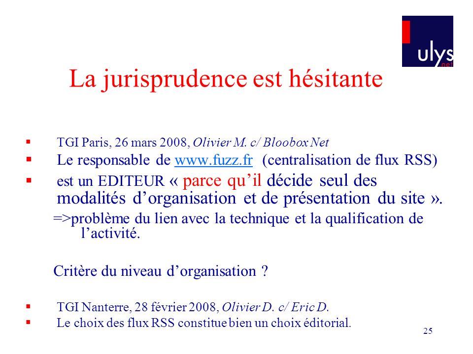 25 La jurisprudence est hésitante TGI Paris, 26 mars 2008, Olivier M.