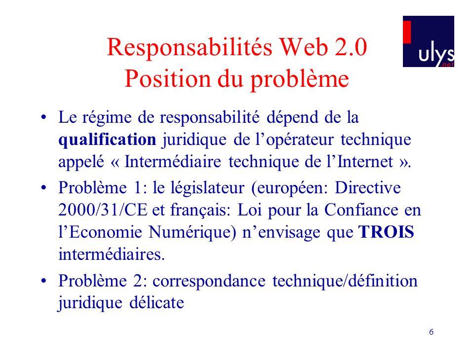 6 Responsabilités Web 2.0 Position du problème Le régime de responsabilité dépend de la qualification juridique de lopérateur technique appelé « Intermédiaire technique de lInternet ».