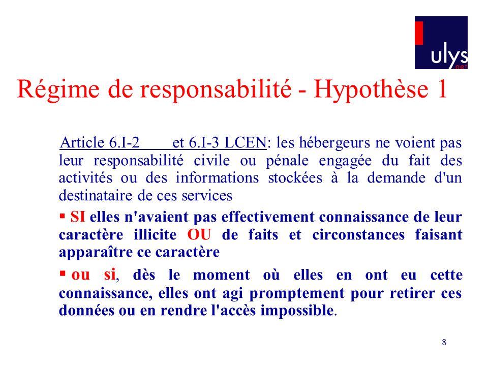 19 La jurisprudence est hésitante Exemple 3 MySpace est un hébergeur et un éditeur TGI Paris, 22 juin 2007, Jean Yves L.