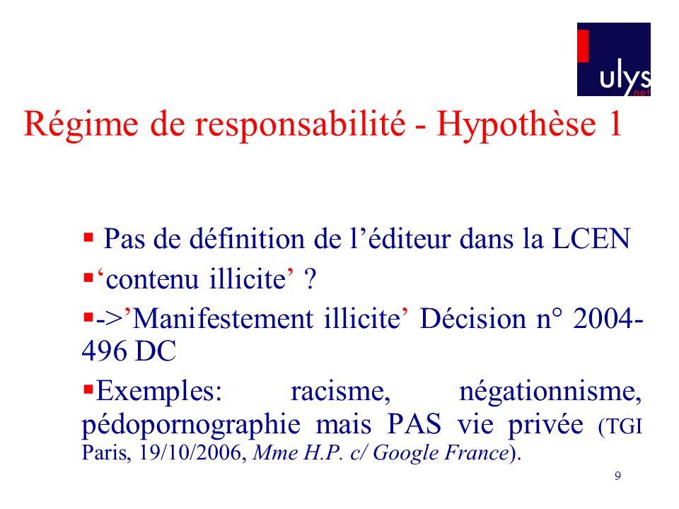 9 Régime de responsabilité - Hypothèse 1 Pas de définition de léditeur dans la LCEN contenu illicite .