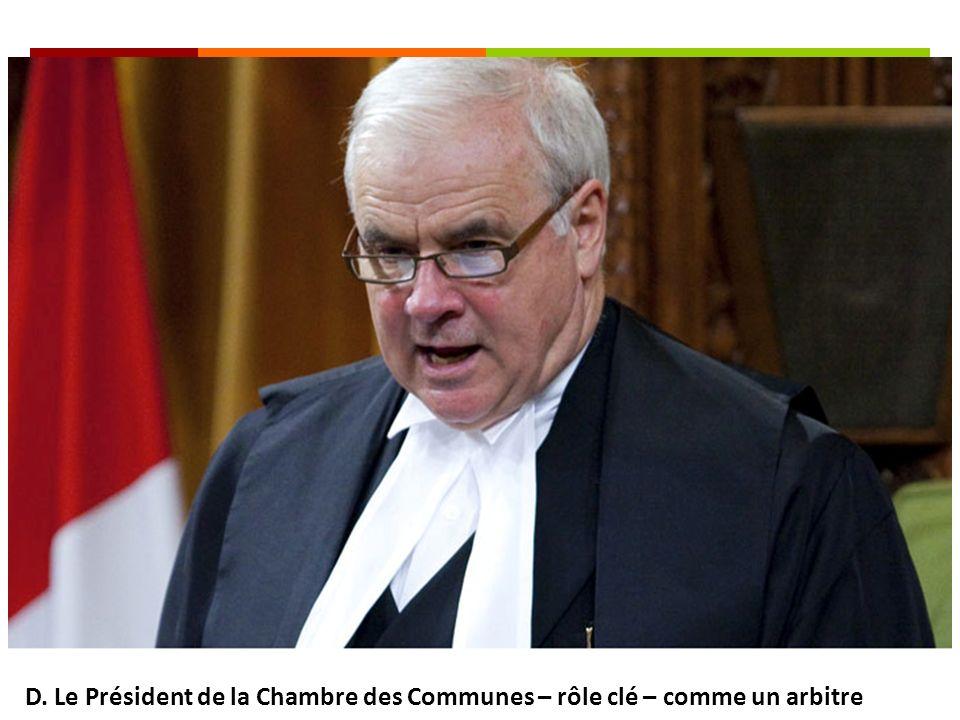 D. Le Président de la Chambre des Communes – rôle clé – comme un arbitre