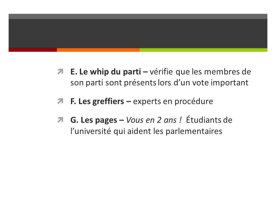 E. Le whip du parti – vérifie que les membres de son parti sont présents lors dun vote important F. Les greffiers – experts en procédure G. Les pages