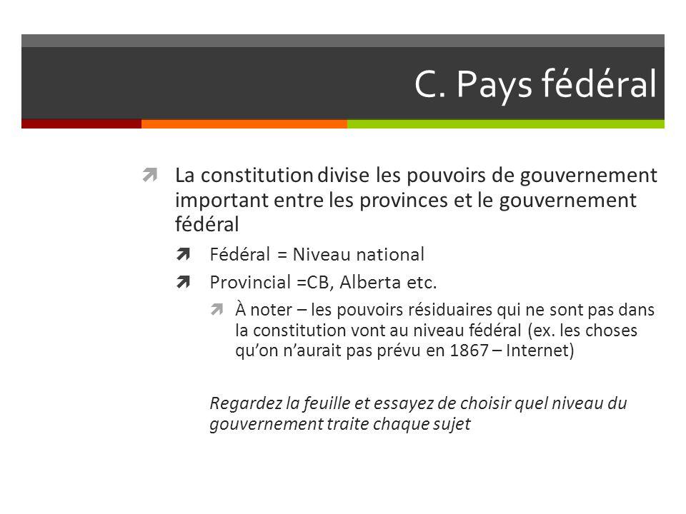 C. Pays fédéral La constitution divise les pouvoirs de gouvernement important entre les provinces et le gouvernement fédéral Fédéral = Niveau national