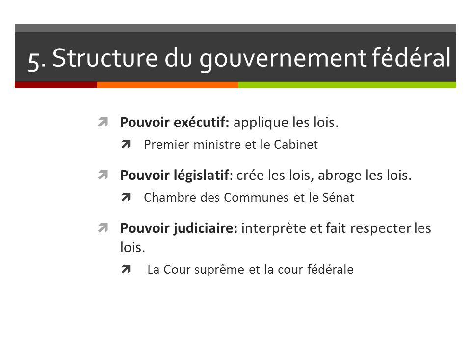 5. Structure du gouvernement fédéral Pouvoir exécutif: applique les lois. Premier ministre et le Cabinet Pouvoir législatif: crée les lois, abroge les