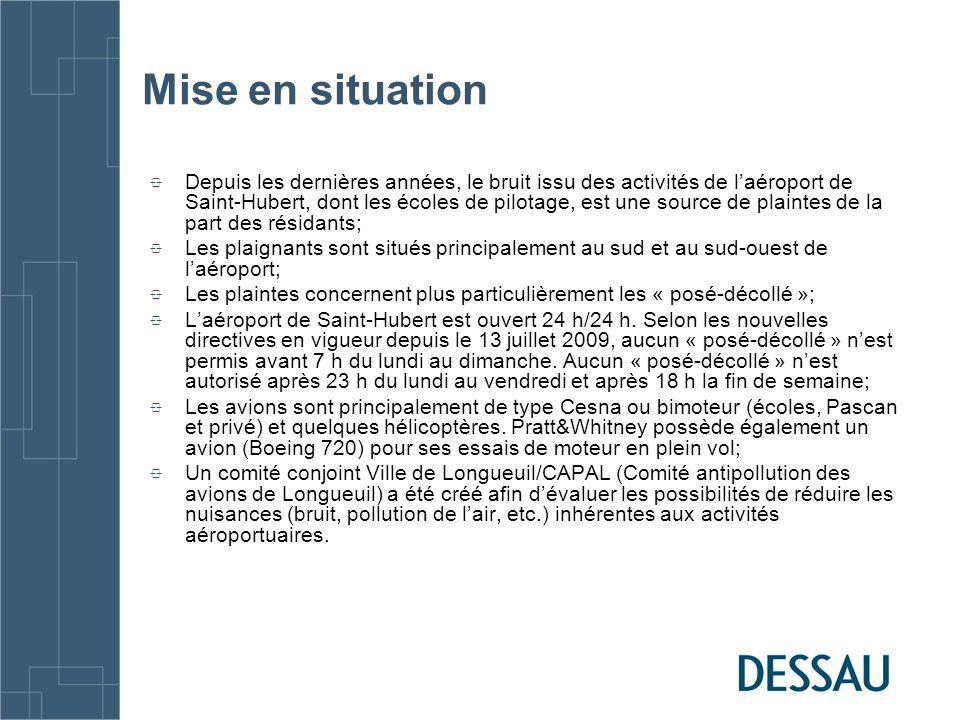 Mandat Établir la situation actuelle du bruit généré par les activités de laéroport de Saint-Hubert sur les secteurs résidentiels situés au sud et à louest de laéroport.