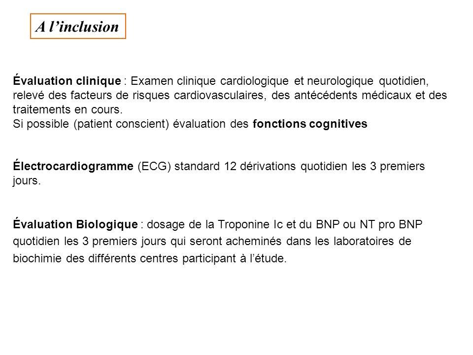 Évaluation clinique : Examen clinique cardiologique et neurologique quotidien, relevé des facteurs de risques cardiovasculaires, des antécédents médic