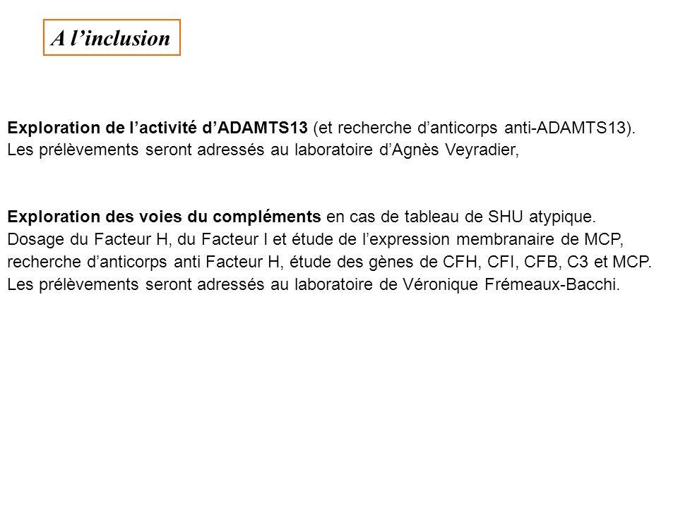 Exploration de lactivité dADAMTS13 (et recherche danticorps anti-ADAMTS13). Les prélèvements seront adressés au laboratoire dAgnès Veyradier, Explorat