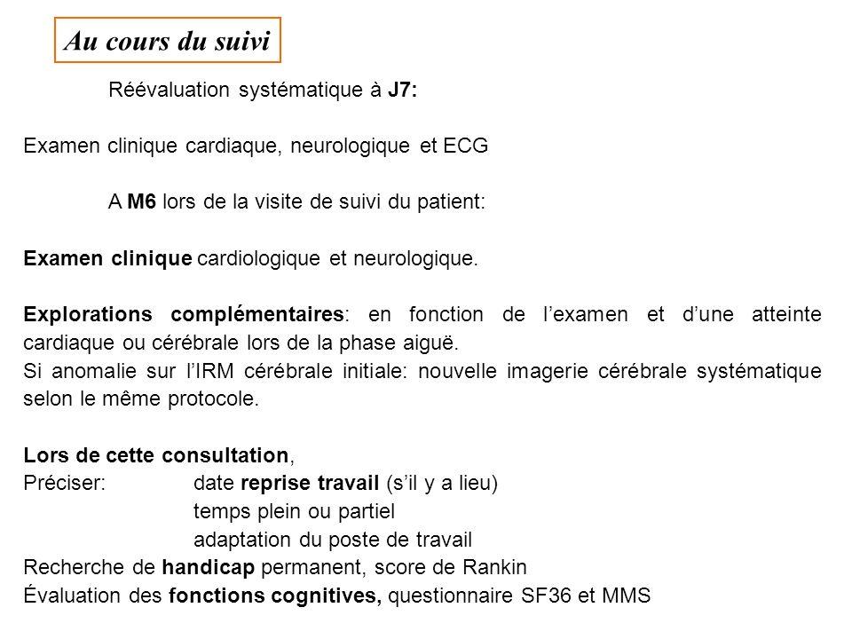Réévaluation systématique à J7: Examen clinique cardiaque, neurologique et ECG A M6 lors de la visite de suivi du patient: Examen clinique cardiologique et neurologique.