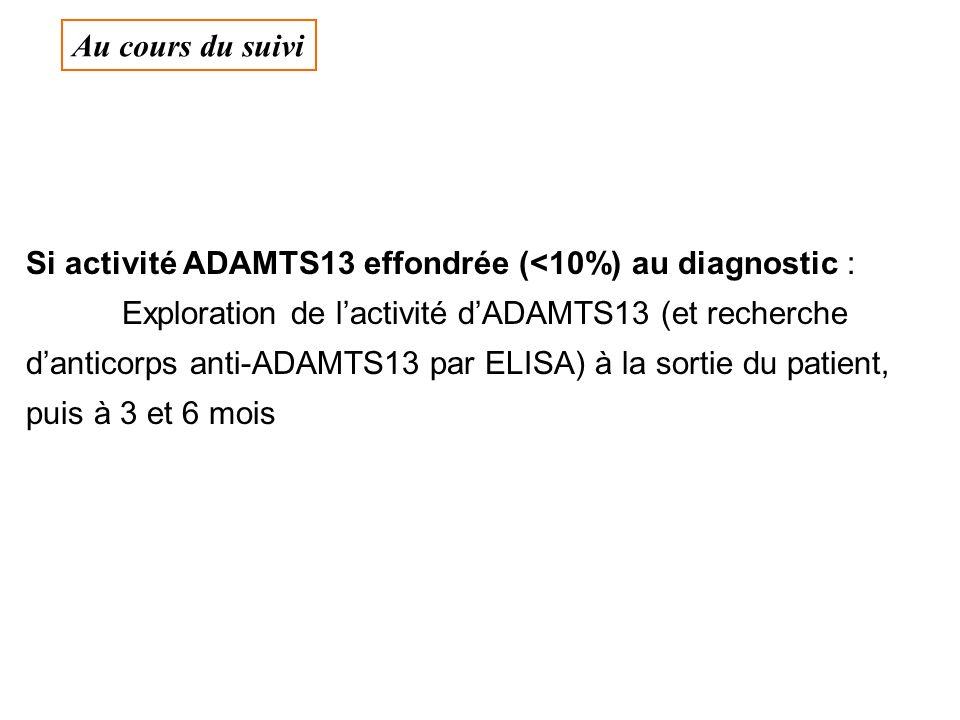 Si activité ADAMTS13 effondrée (<10%) au diagnostic : Exploration de lactivité dADAMTS13 (et recherche danticorps anti-ADAMTS13 par ELISA) à la sortie du patient, puis à 3 et 6 mois Au cours du suivi