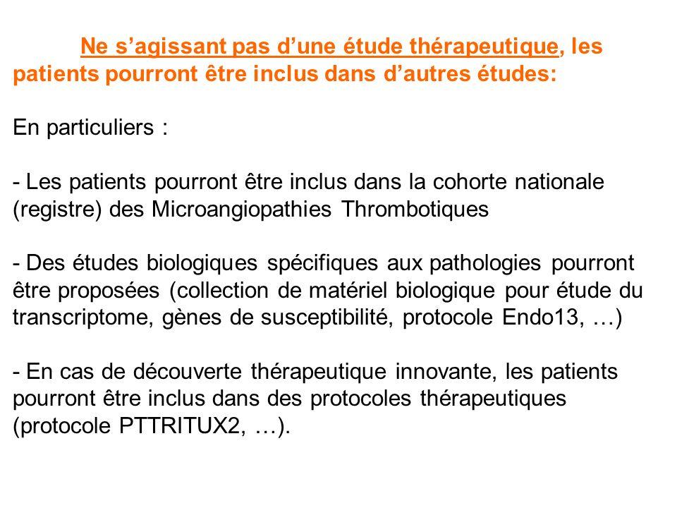 Ne sagissant pas dune étude thérapeutique, les patients pourront être inclus dans dautres études: En particuliers : - Les patients pourront être inclu