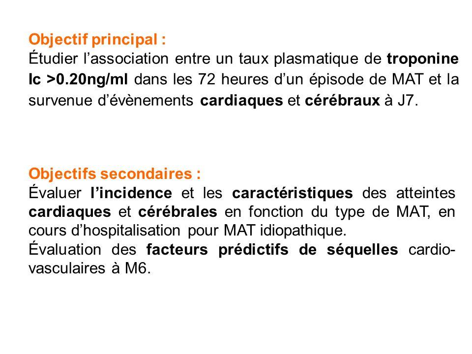 Objectif principal : Étudier lassociation entre un taux plasmatique de troponine Ic >0.20ng/ml dans les 72 heures dun épisode de MAT et la survenue dévènements cardiaques et cérébraux à J7.