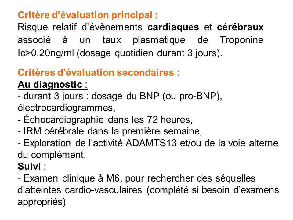 Critère dévaluation principal : Risque relatif dévènements cardiaques et cérébraux associé à un taux plasmatique de Troponine Ic>0.20ng/ml (dosage quo