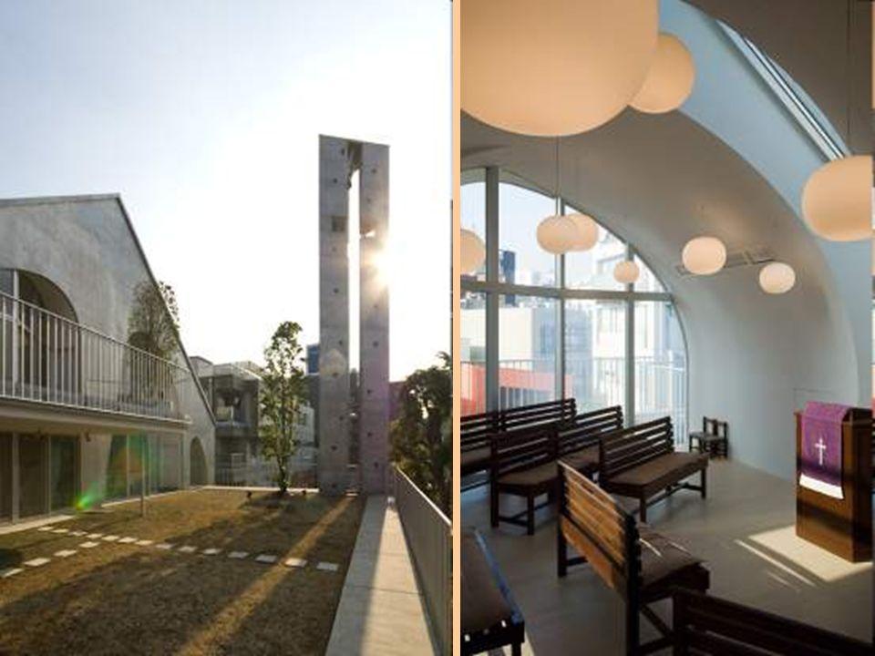 Cette église futuriste protestante se trouve à Tokyo. Harajuku Église futuriste japonaise. Le toit est spécialement dessiné pour renvoyer le son penda