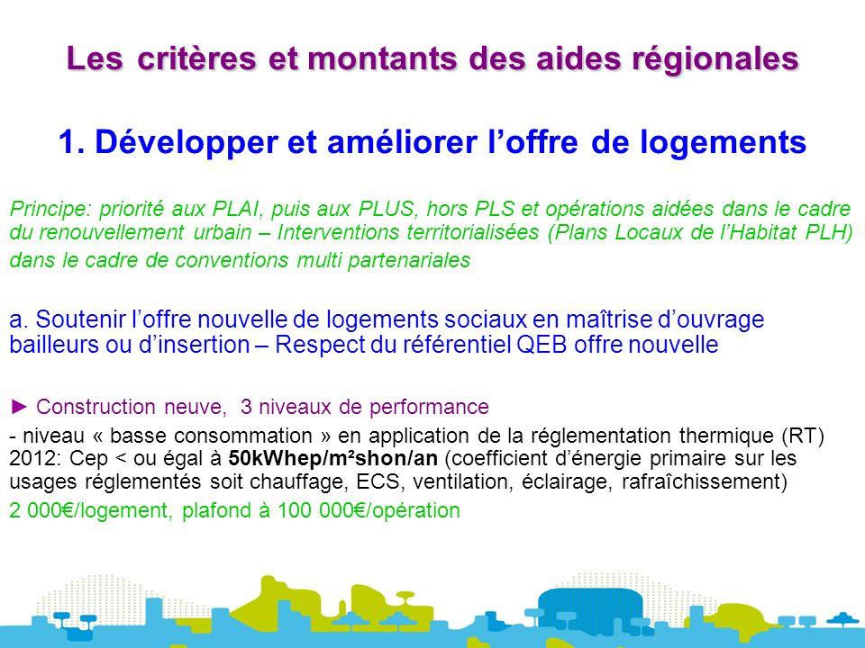 Lescritères et montants des aides régionales Les critères et montants des aides régionales 1.