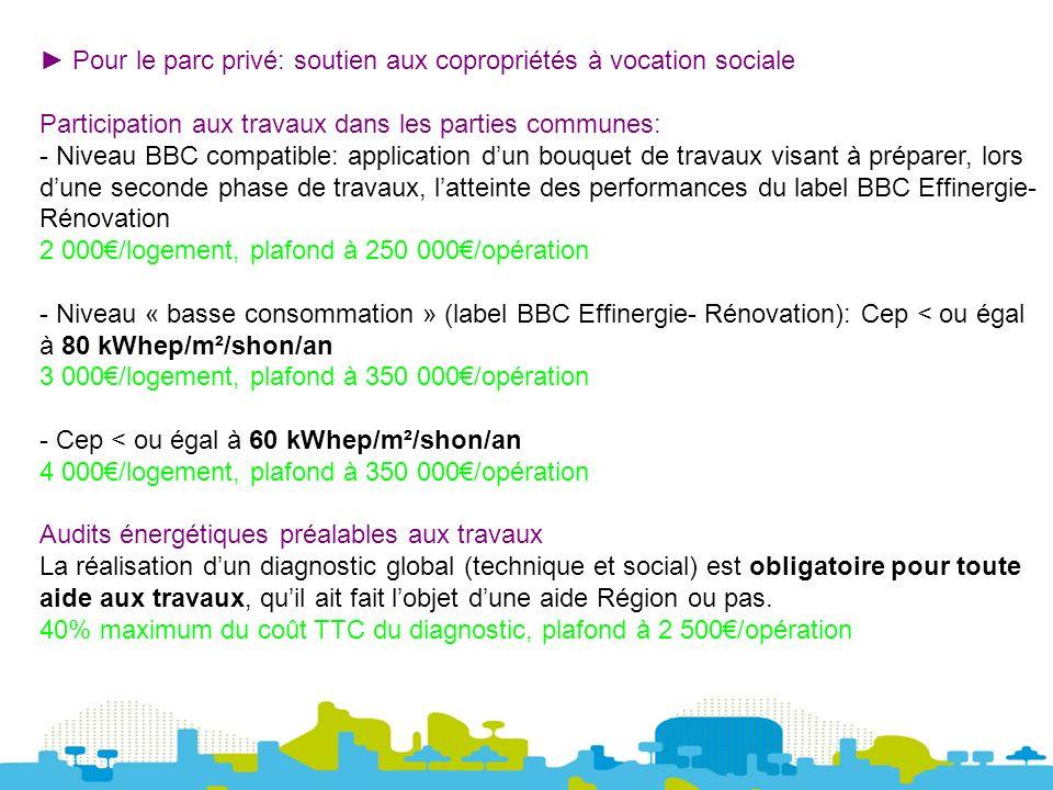 Pour le parc privé: soutien aux copropriétés à vocation sociale Participation aux travaux dans les parties communes: - Niveau BBC compatible: application dun bouquet de travaux visant à préparer, lors dune seconde phase de travaux, latteinte des performances du label BBC Effinergie- Rénovation 2 000/logement, plafond à 250 000/opération - Niveau « basse consommation » (label BBC Effinergie- Rénovation): Cep < ou égal à 80 kWhep/m²/shon/an 3 000/logement, plafond à 350 000/opération - Cep < ou égal à 60 kWhep/m²/shon/an 4 000/logement, plafond à 350 000/opération Audits énergétiques préalables aux travaux La réalisation dun diagnostic global (technique et social) est obligatoire pour toute aide aux travaux, quil ait fait lobjet dune aide Région ou pas.