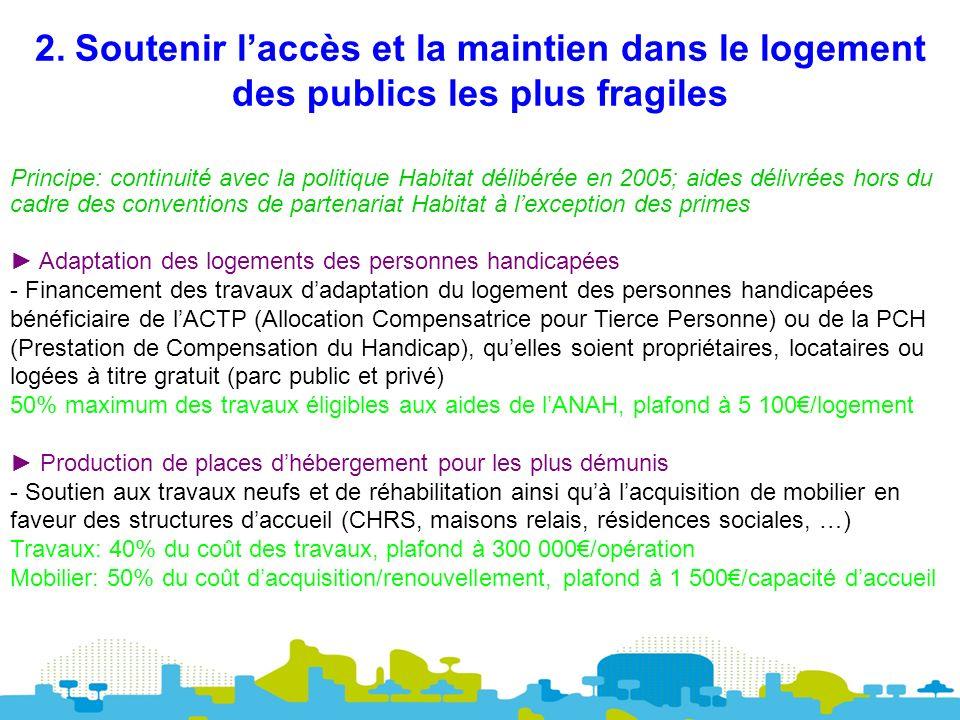 2. Soutenir laccès et la maintien dans le logement des publics les plus fragiles Principe: continuité avec la politique Habitat délibérée en 2005; aid