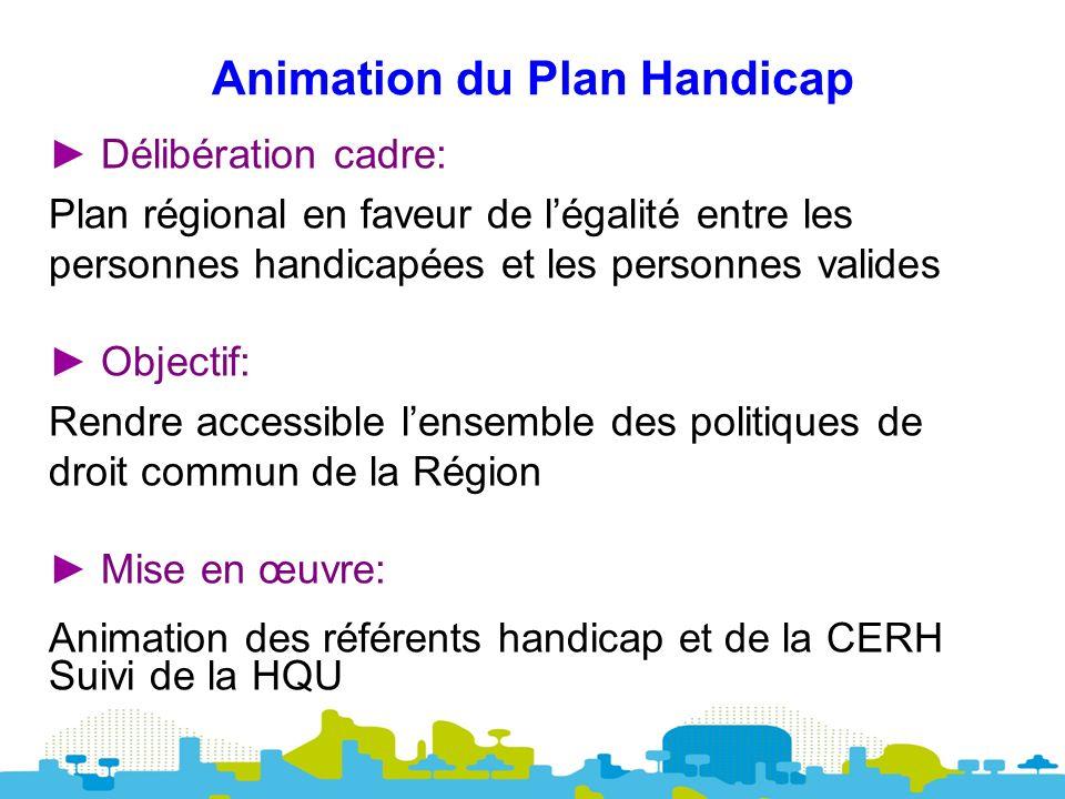 Animation du Plan Handicap Délibération cadre: Plan régional en faveur de légalité entre les personnes handicapées et les personnes valides Objectif: Rendre accessible lensemble des politiques de droit commun de la Région Mise en œuvre: Animation des référents handicap et de la CERH Suivi de la HQU