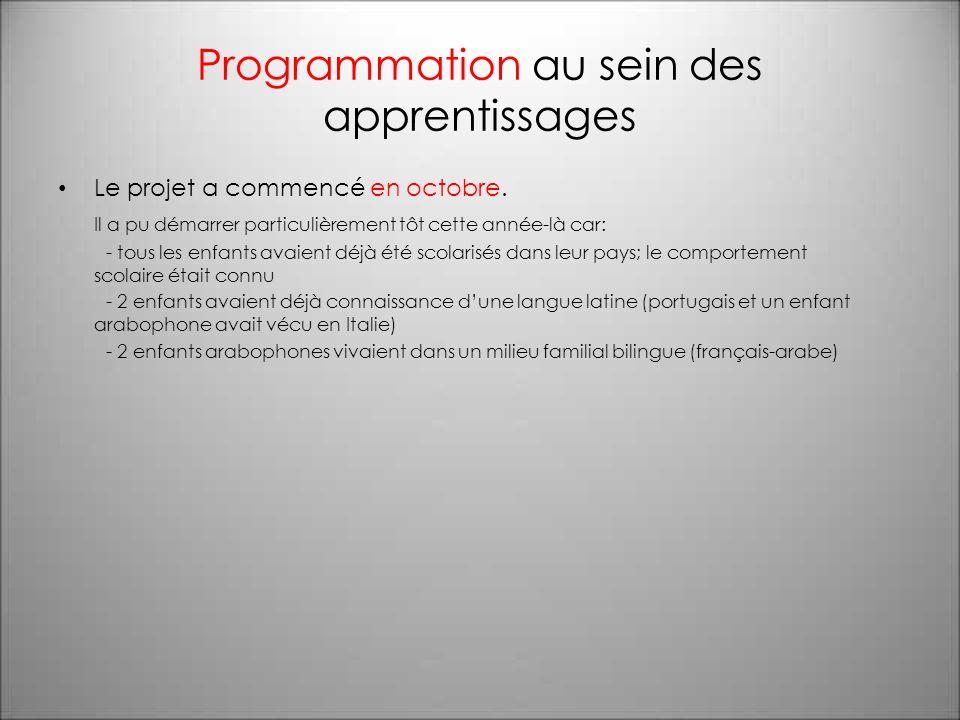 Programmation au sein des apprentissages Le projet a commencé en octobre.