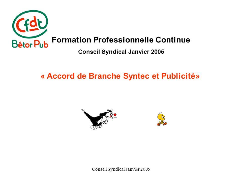 Conseil Syndical Janvier 2005 Formation Professionnelle Continue Conseil Syndical Janvier 2005 « Accord de Branche Syntec et Publicité»