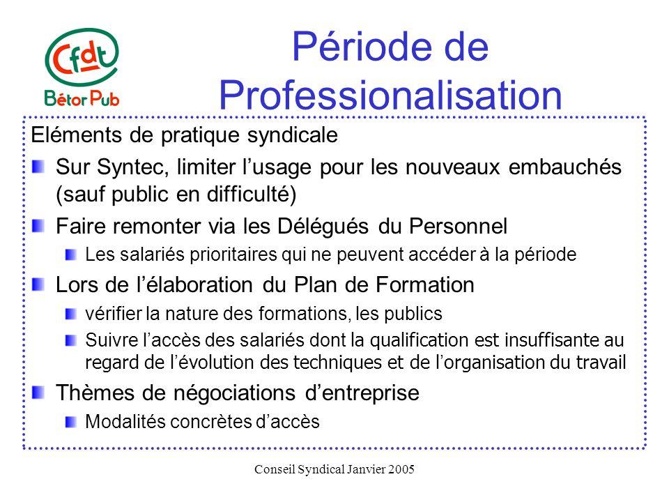 Conseil Syndical Janvier 2005 Période de Professionalisation Eléments de pratique syndicale Sur Syntec, limiter lusage pour les nouveaux embauchés (sa