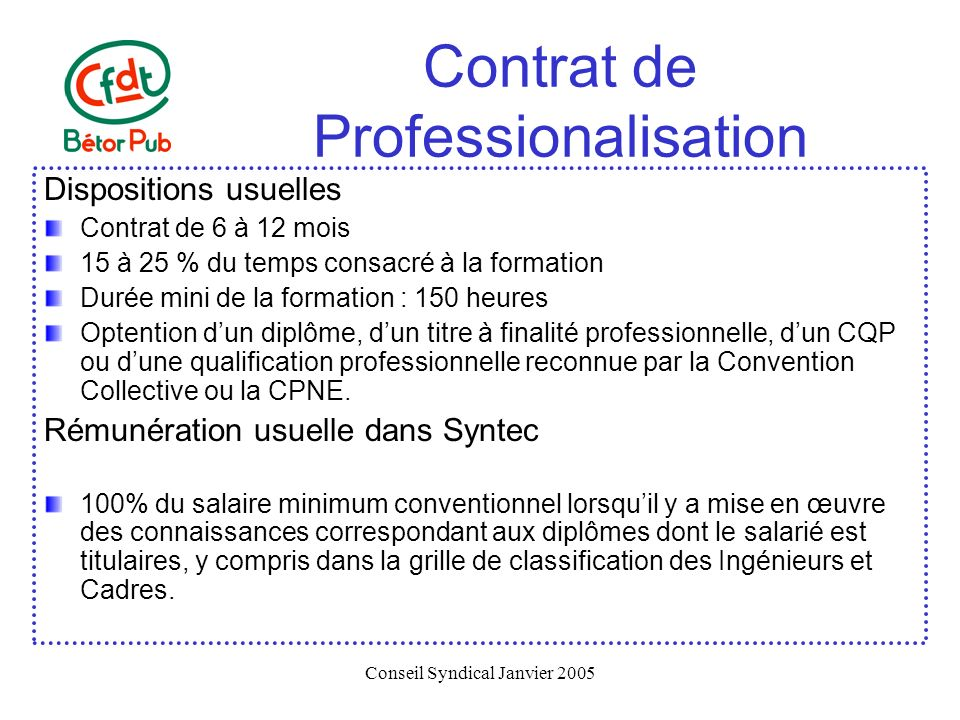 Conseil Syndical Janvier 2005 Contrat de Professionalisation Dispositions usuelles Contrat de 6 à 12 mois 15 à 25 % du temps consacré à la formation D