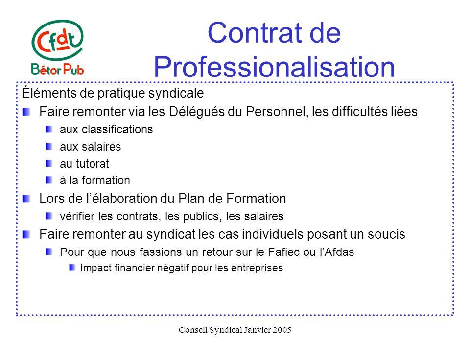 Conseil Syndical Janvier 2005 Contrat de Professionalisation Éléments de pratique syndicale Faire remonter via les Délégués du Personnel, les difficul