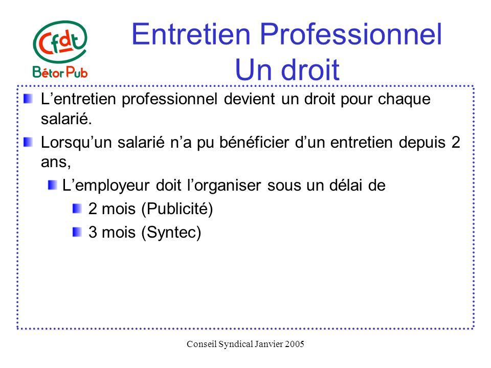 Conseil Syndical Janvier 2005 Entretien Professionnel Un droit Lentretien professionnel devient un droit pour chaque salarié. Lorsquun salarié na pu b