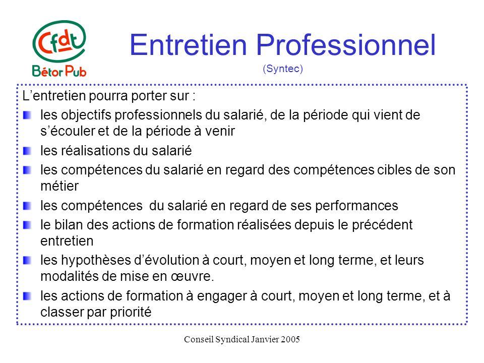 Conseil Syndical Janvier 2005 Entretien Professionnel (Syntec) Lentretien pourra porter sur : les objectifs professionnels du salarié, de la période q