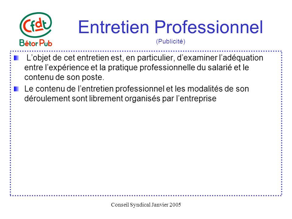 Conseil Syndical Janvier 2005 Entretien Professionnel (Publicité) Lobjet de cet entretien est, en particulier, dexaminer ladéquation entre lexpérience