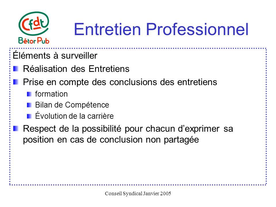 Conseil Syndical Janvier 2005 Entretien Professionnel Éléments à surveiller Réalisation des Entretiens Prise en compte des conclusions des entretiens