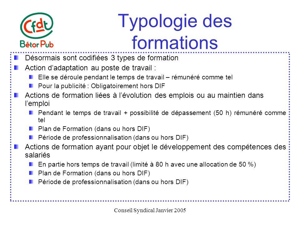 Conseil Syndical Janvier 2005 Typologie des formations Désormais sont codifiées 3 types de formation Action dadaptation au poste de travail : Elle se