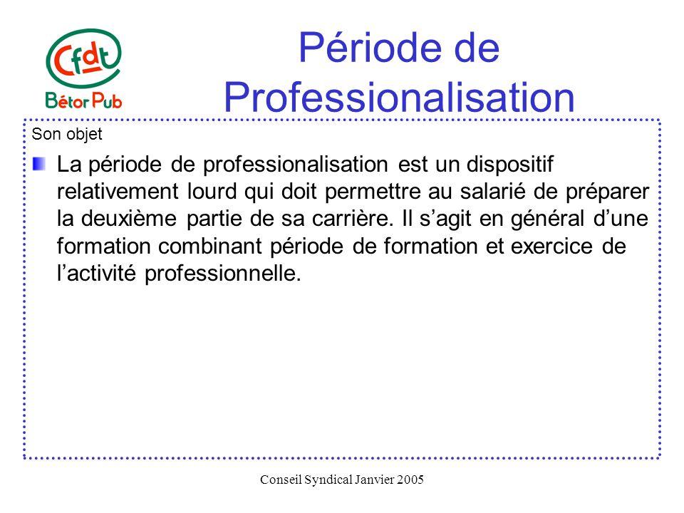 Conseil Syndical Janvier 2005 Période de Professionalisation Son objet La période de professionalisation est un dispositif relativement lourd qui doit