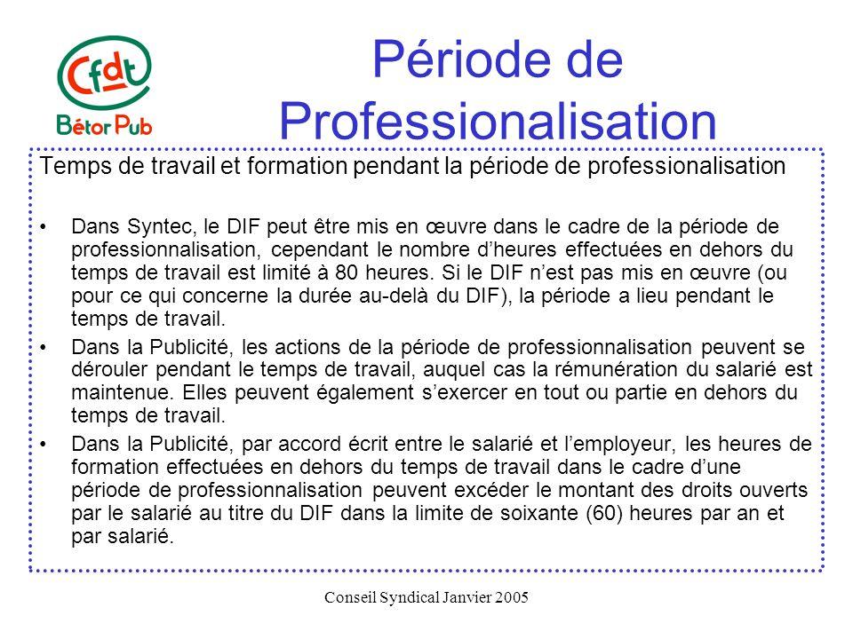 Conseil Syndical Janvier 2005 Période de Professionalisation Temps de travail et formation pendant la période de professionalisation Dans Syntec, le D
