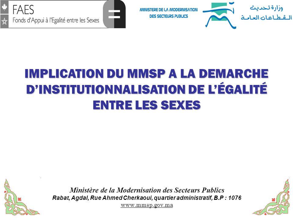 Ministère de la Modernisation des Secteurs Publics Rabat, Agdal, Rue Ahmed Cherkaoui, quartier administratif, B.P : 1076 www.mmsp.gov.ma IMPLICATION D