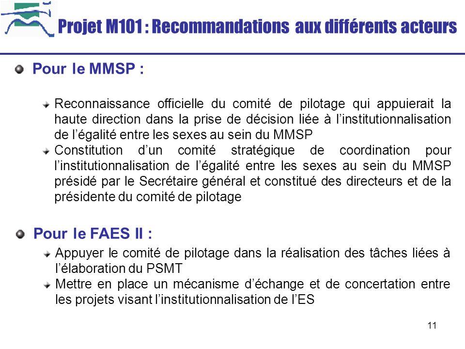 11 Projet M101 : Recommandations aux différents acteurs Pour le MMSP : Reconnaissance officielle du comité de pilotage qui appuierait la haute directi