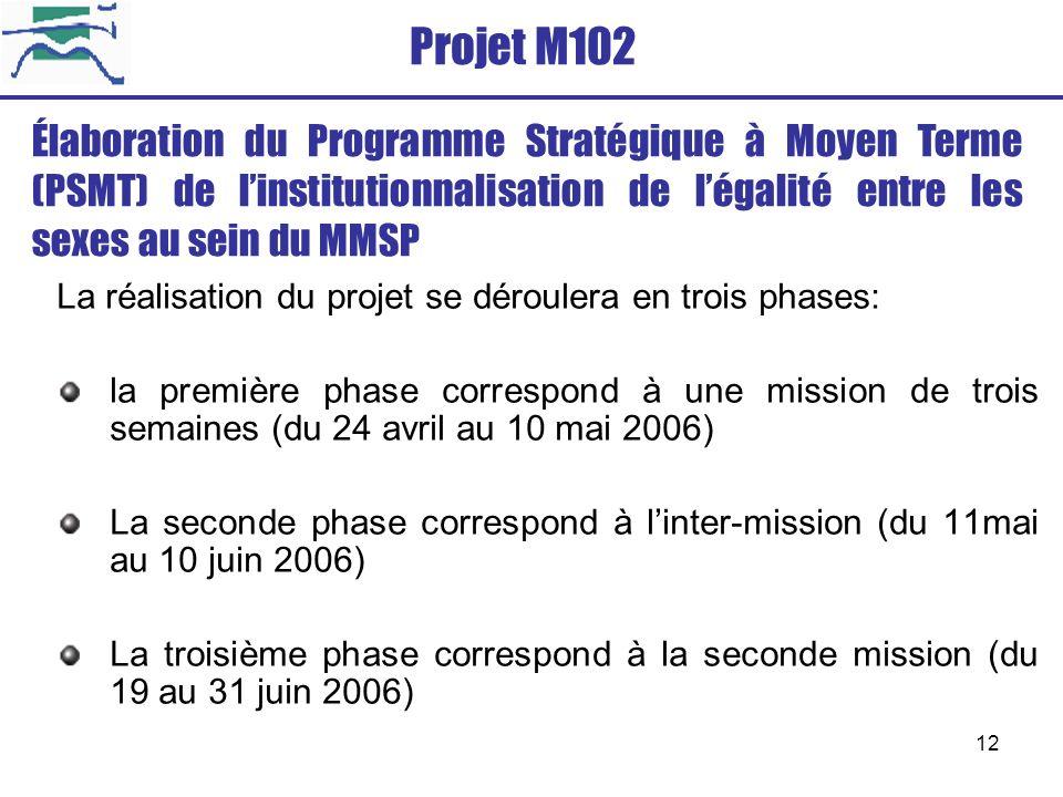 12 Projet M102 La réalisation du projet se déroulera en trois phases: la première phase correspond à une mission de trois semaines (du 24 avril au 10