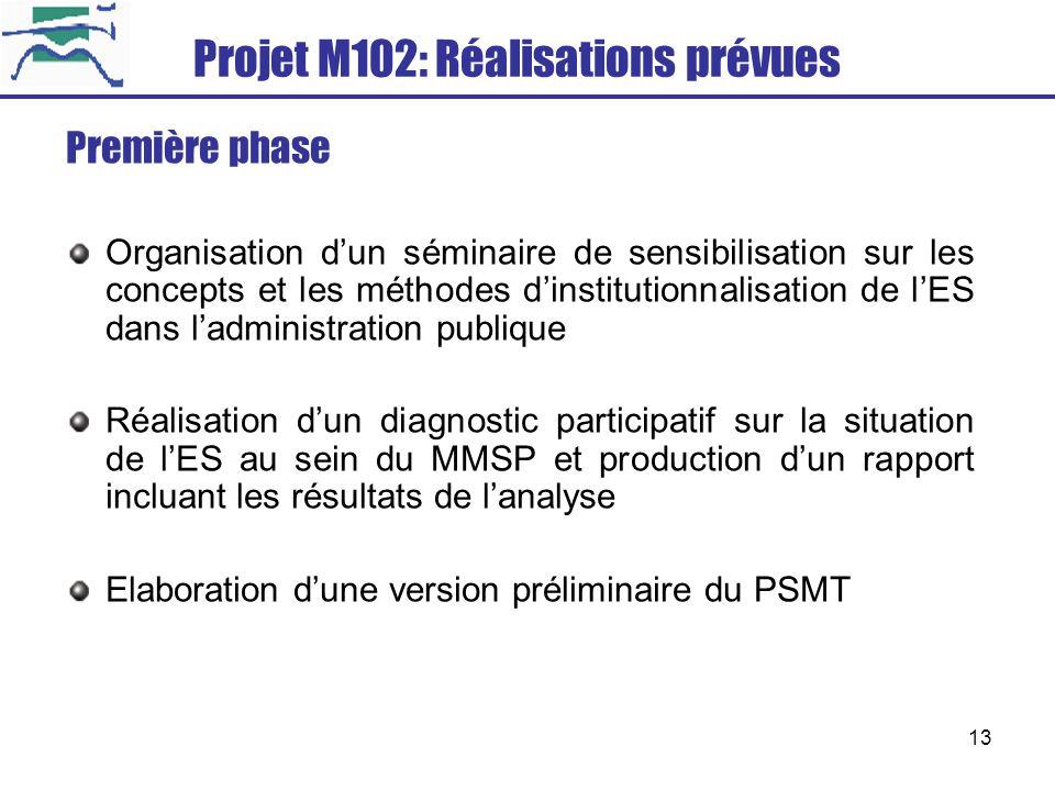 13 Projet M102: Réalisations prévues Première phase Organisation dun séminaire de sensibilisation sur les concepts et les méthodes dinstitutionnalisat