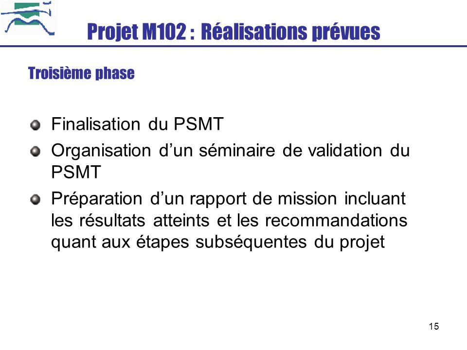15 Projet M102 : Réalisations prévues Troisième phase Finalisation du PSMT Organisation dun séminaire de validation du PSMT Préparation dun rapport de
