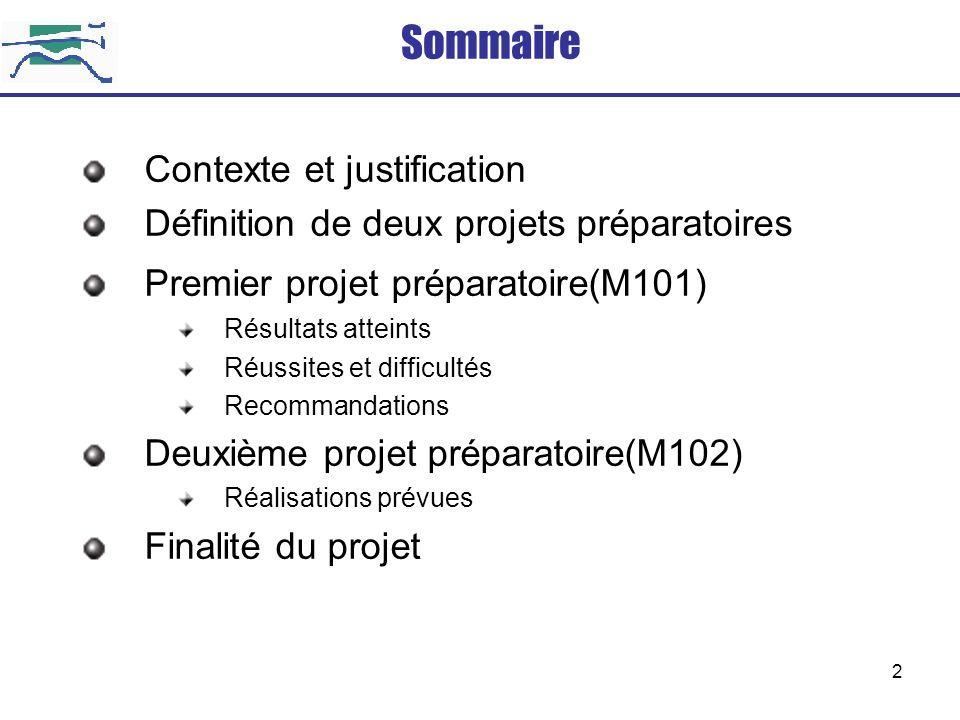 2 Contexte et justification Définition de deux projets préparatoires Premier projet préparatoire(M101) Résultats atteints Réussites et difficultés Rec