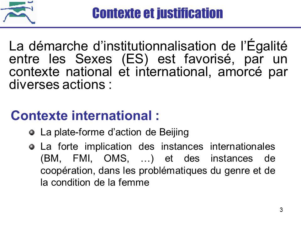 3 Contexte international : La plate-forme daction de Beijing La forte implication des instances internationales (BM, FMI, OMS, …) et des instances de