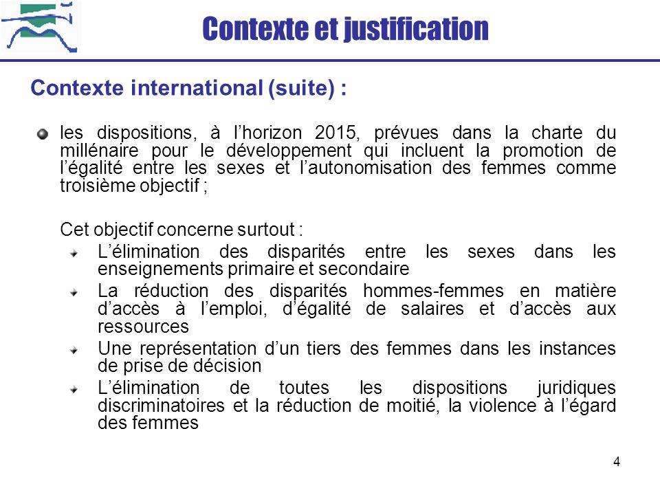 4 les dispositions, à lhorizon 2015, prévues dans la charte du millénaire pour le développement qui incluent la promotion de légalité entre les sexes