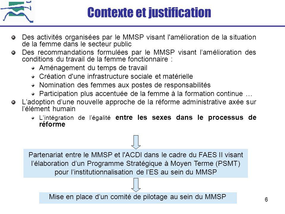 6 Contexte et justification Des activités organisées par le MMSP visant l'amélioration de la situation de la femme dans le secteur public Des recomman
