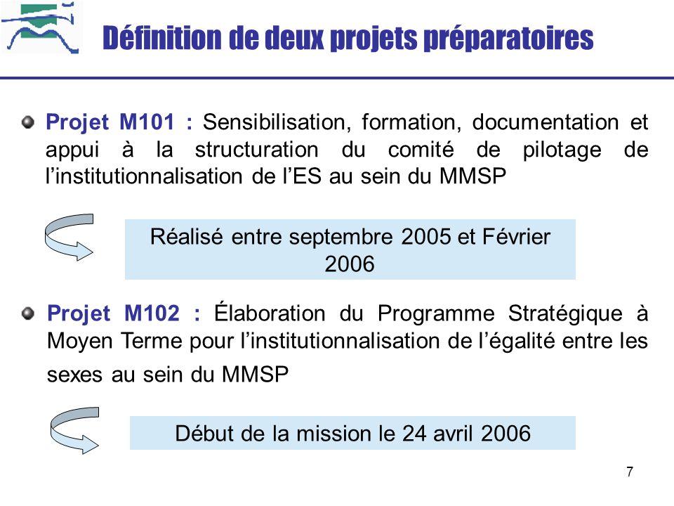 8 Projet M101 : Résultats atteints Le comité de pilotage du MMSP est opérationnel et il est mandaté et outillé pour coordonner la réalisation dun programme stratégique à moyen terme dinstitutionnalisation de lES : Formation : Les membres du comité de pilotage ainsi que les responsables et cadres des différentes directions du ministère sont formés aux approches et méthodes dinstitutionnalisation de lES