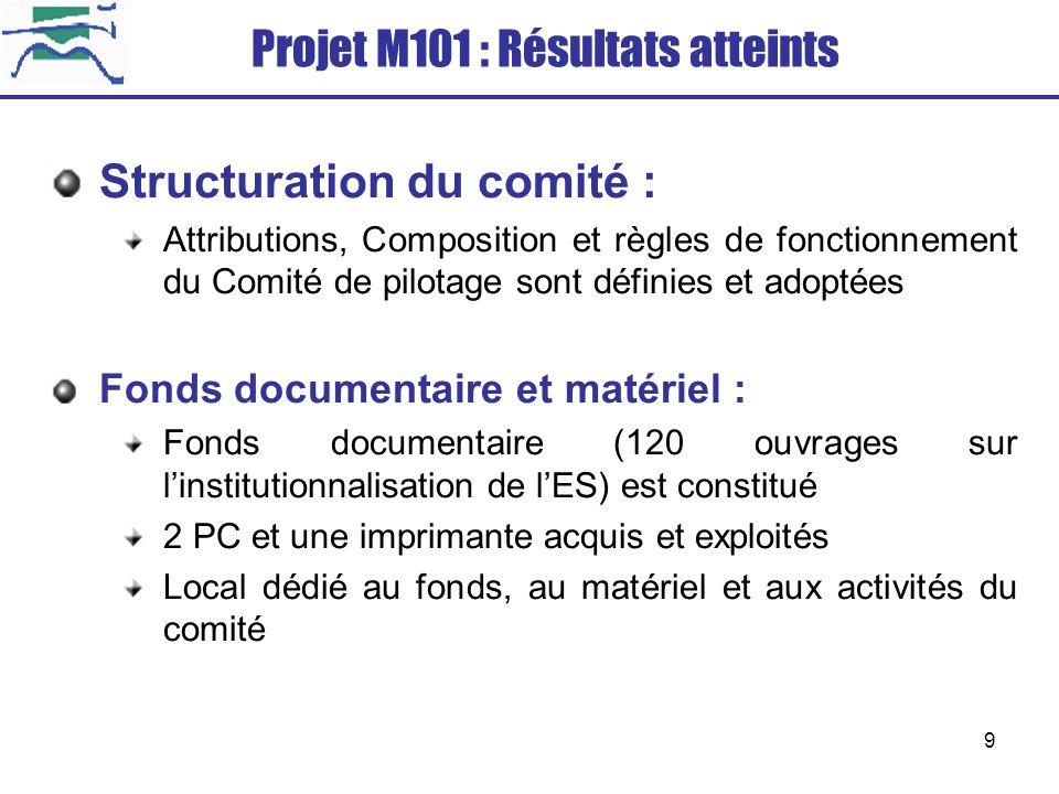 9 Structuration du comité : Attributions, Composition et règles de fonctionnement du Comité de pilotage sont définies et adoptées Fonds documentaire e