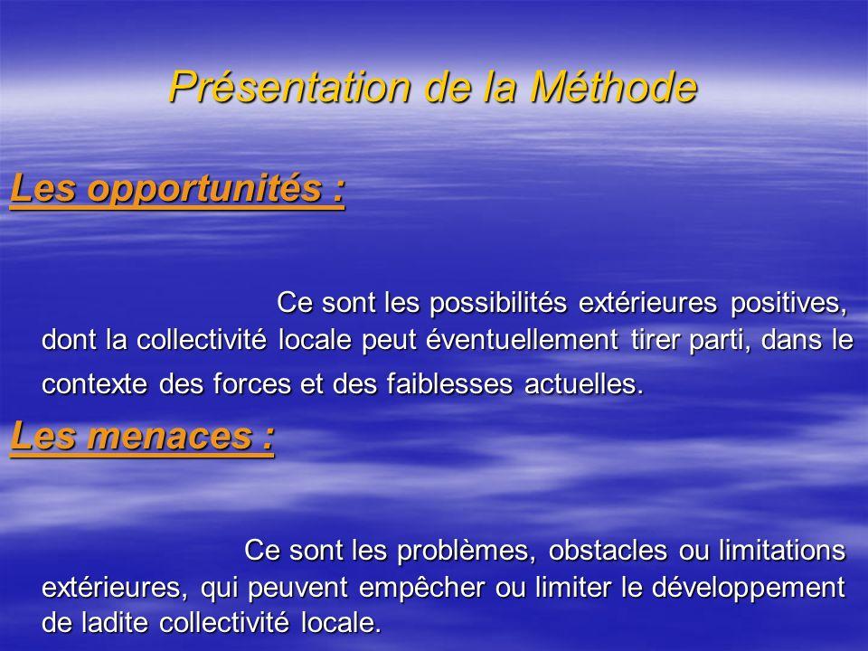Présentation de la Méthode Les forces : Les forces : Ce sont les aspects positifs internes que contrôle la collectivité locale et sur lesquels on peut bâtir dans le futur.
