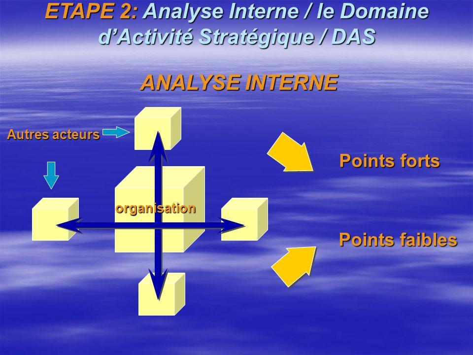 ETAPE 2: Analyse Interne / le Domaine dActivité Stratégique / DAS Définition du Domaine d'Activité Stratégique / DAS : Définition du Domaine d'Activit