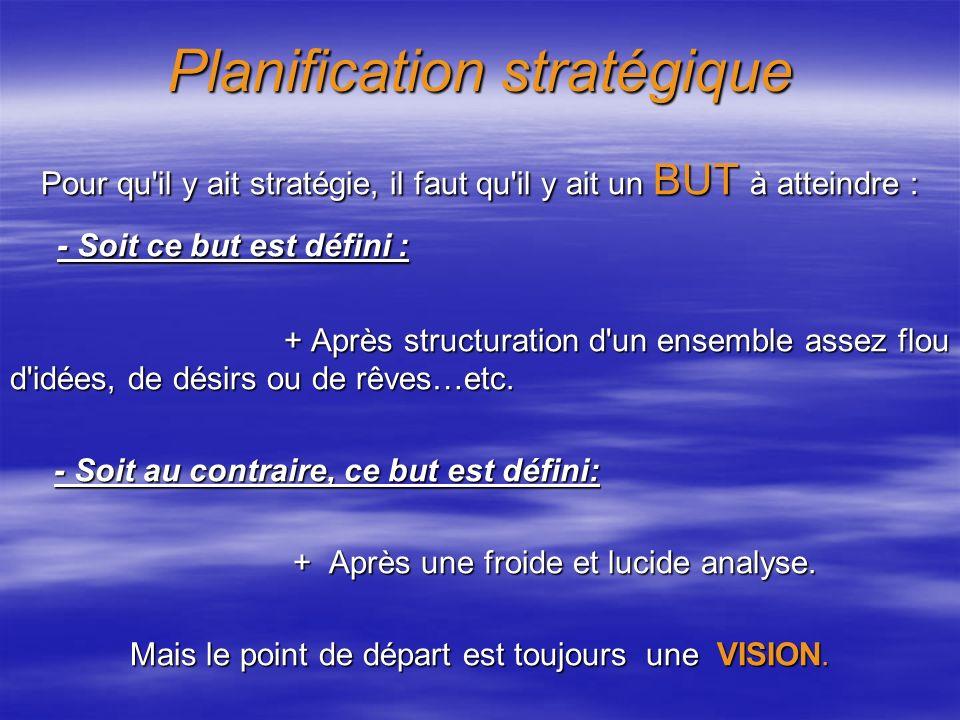 Planification stratégique Pour qu il y ait stratégie, il faut qu il y ait un BUT à atteindre : - Soit ce but est défini : - Soit ce but est défini : + Après structuration d un ensemble assez flou d idées, de désirs ou de rêves…etc.