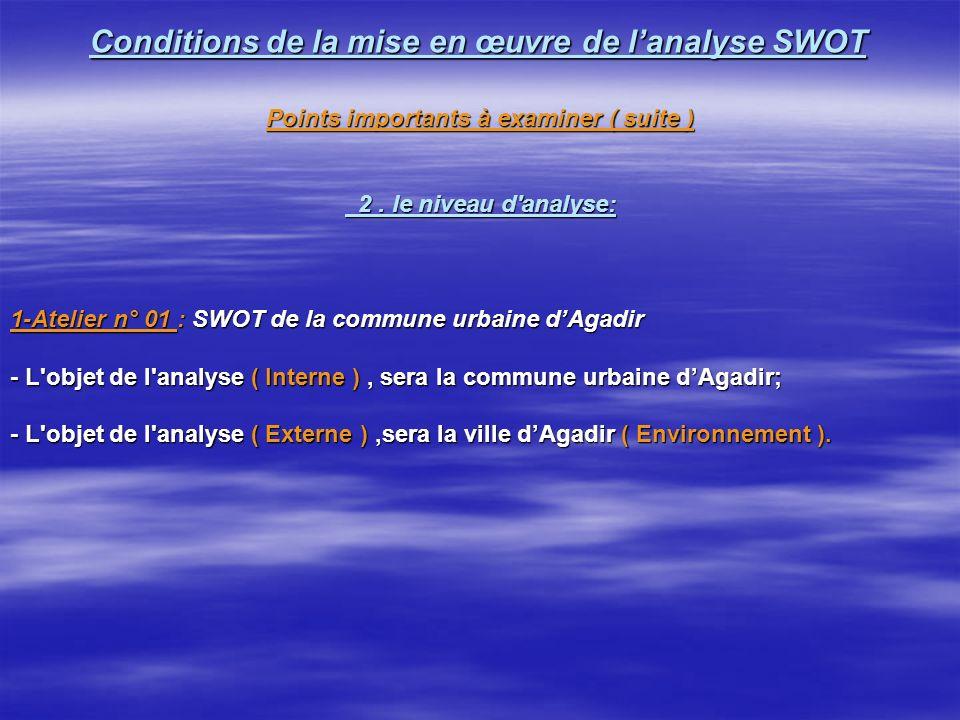 Conditions de la mise en œuvre de lanalyse SWOT Conditions de la mise en œuvre de lanalyse SWOT Points importants à examiner 1.le choix des participants aux réunions QUI .