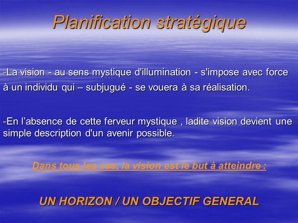 Planification stratégique Pour qu'il y ait stratégie, il faut qu'il y ait un BUT à atteindre : - Soit ce but est défini : - Soit ce but est défini : +