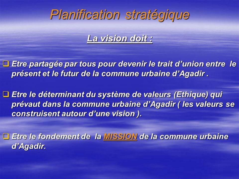 Planification stratégique La vision doit : Etre partagée par tous pour devenir le trait dunion entre le présent et le futur de la commune urbaine dAgadir.